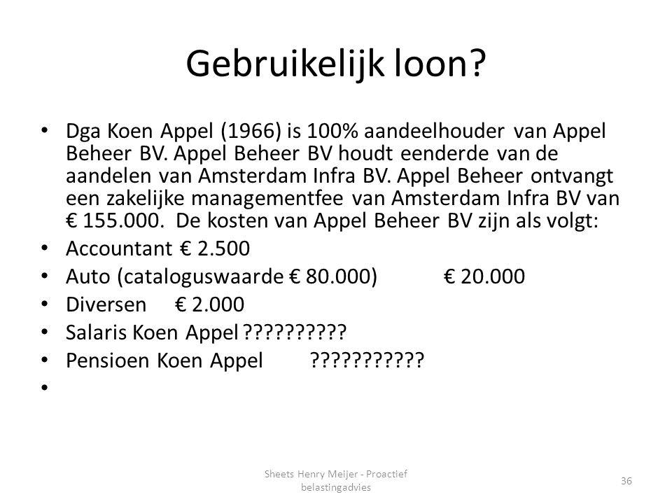 Gebruikelijk loon? Dga Koen Appel (1966) is 100% aandeelhouder van Appel Beheer BV. Appel Beheer BV houdt eenderde van de aandelen van Amsterdam Infra