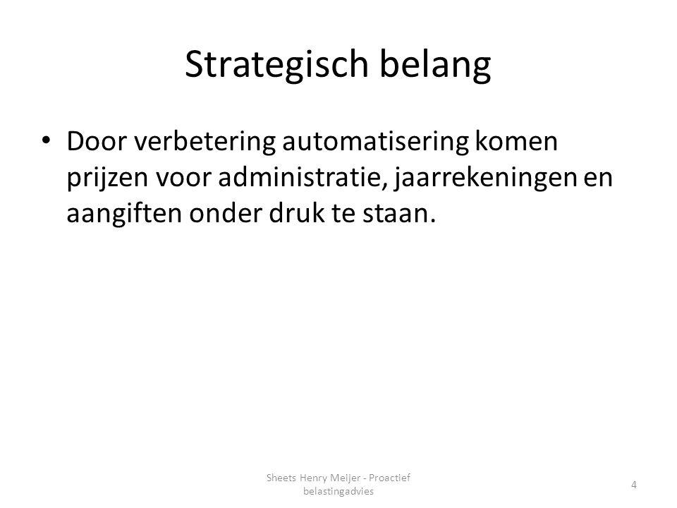 Strategisch belang Door verbetering automatisering komen prijzen voor administratie, jaarrekeningen en aangiften onder druk te staan. 4 Sheets Henry M