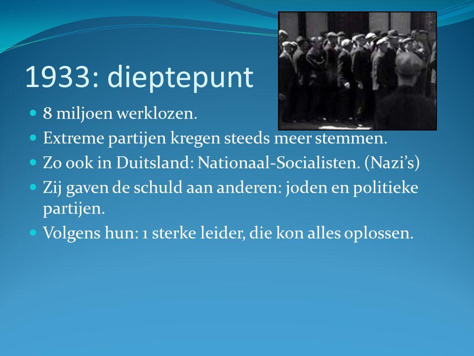1933: dieptepunt 8 miljoen werklozen. Extreme partijen kregen steeds meer stemmen. Zo ook in Duitsland: Nationaal-Socialisten. (Nazi's) Zij gaven de s