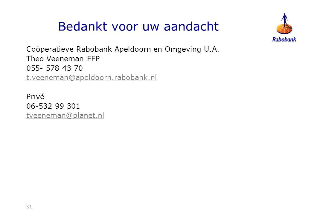 31 Bedankt voor uw aandacht Coöperatieve Rabobank Apeldoorn en Omgeving U.A.