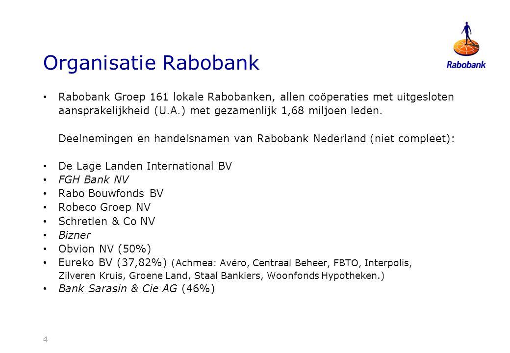 4 Organisatie Rabobank Rabobank Groep 161 lokale Rabobanken, allen coöperaties met uitgesloten aansprakelijkheid (U.A.) met gezamenlijk 1,68 miljoen leden.