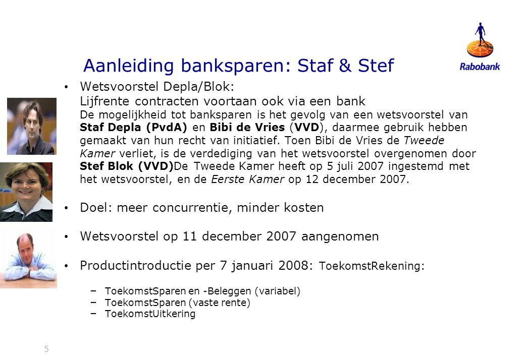 5 Aanleiding banksparen: Staf & Stef Wetsvoorstel Depla/Blok: Lijfrente contracten voortaan ook via een bank De mogelijkheid tot banksparen is het gevolg van een wetsvoorstel van Staf Depla (PvdA) en Bibi de Vries (VVD), daarmee gebruik hebben gemaakt van hun recht van initiatief.