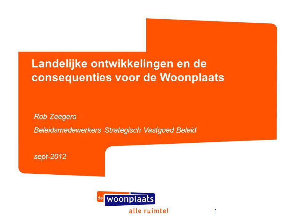 1 Landelijke ontwikkelingen en de consequenties voor de Woonplaats Rob Zeegers Beleidsmedewerkers Strategisch Vastgoed Beleid sept-2012