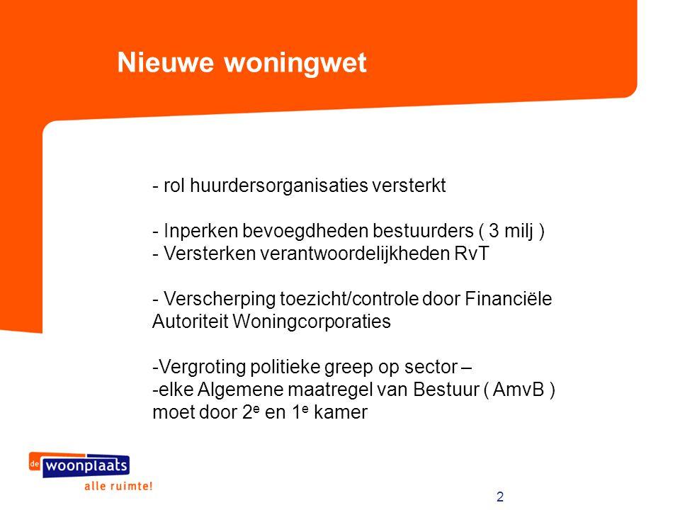 2 Nieuwe woningwet - rol huurdersorganisaties versterkt - Inperken bevoegdheden bestuurders ( 3 milj ) - Versterken verantwoordelijkheden RvT - Versch