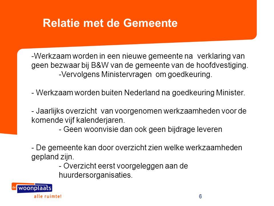 6 Relatie met de Gemeente -Werkzaam worden in een nieuwe gemeente na verklaring van geen bezwaar bij B&W van de gemeente van de hoofdvestiging. -Vervo