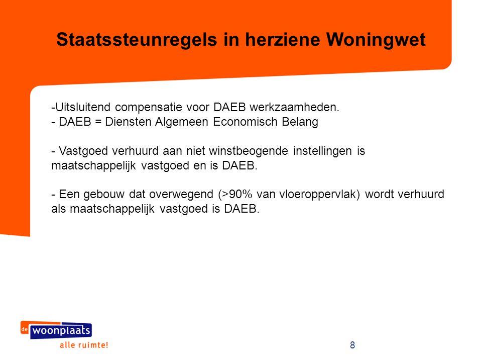 9 Staatssteunregels in herziene Woningwet - DAEB woningen hebben een huur onder € 681 per maand.