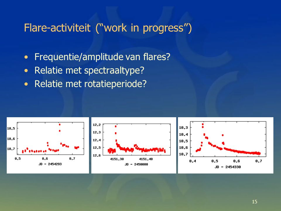 Flare-activiteit ( work in progress ) Frequentie/amplitude van flares.