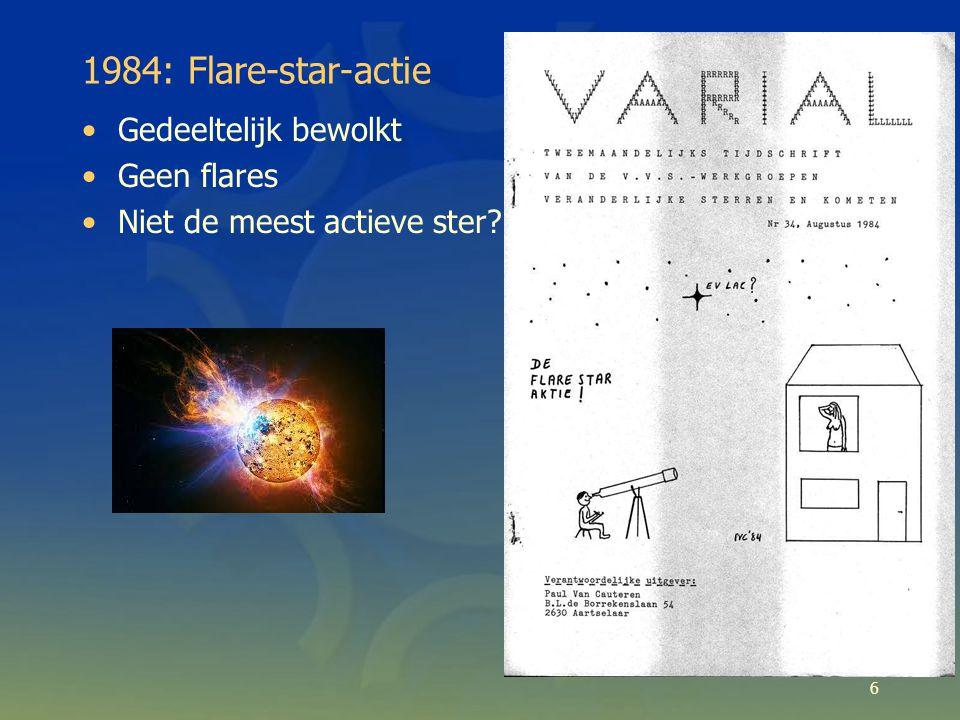 6 1984: Flare-star-actie Gedeeltelijk bewolkt Geen flares Niet de meest actieve ster