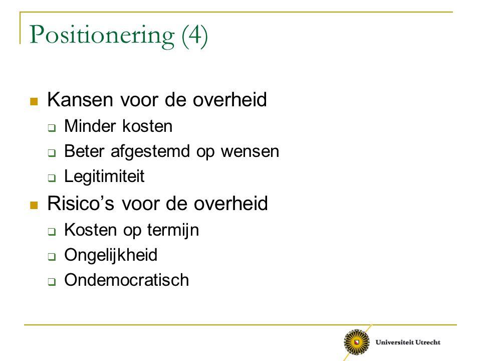 Positionering (4) Kansen voor de overheid  Minder kosten  Beter afgestemd op wensen  Legitimiteit Risico's voor de overheid  Kosten op termijn  O