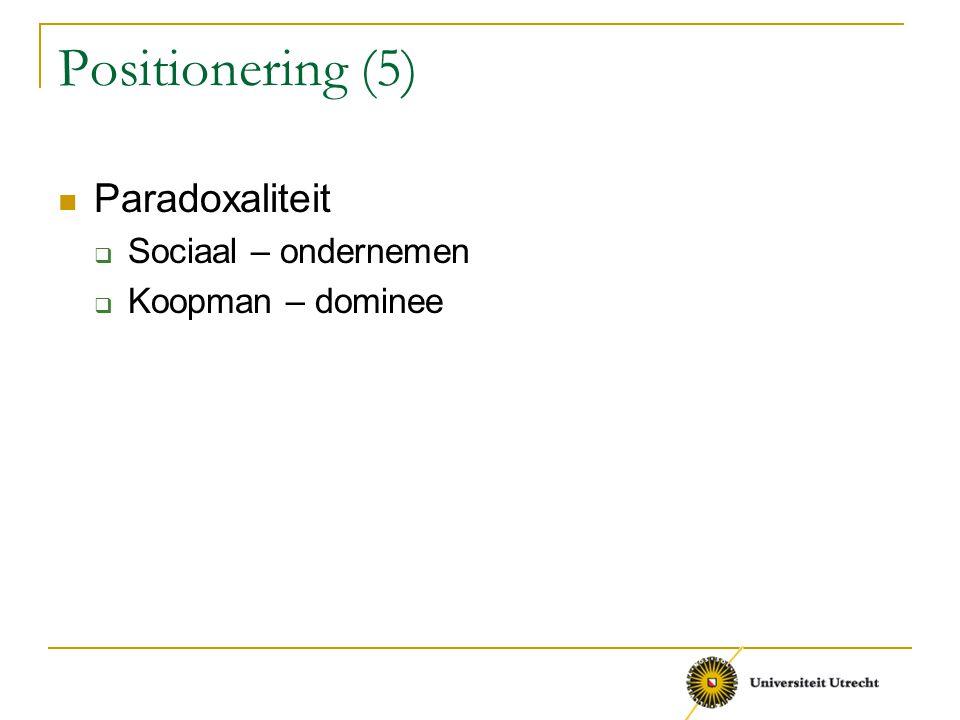 Positionering (5) Paradoxaliteit  Sociaal – ondernemen  Koopman – dominee