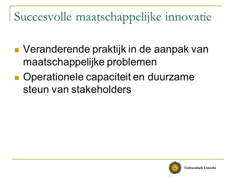 Succesvolle maatschappelijke innovatie Veranderende praktijk in de aanpak van maatschappelijke problemen Operationele capaciteit en duurzame steun van