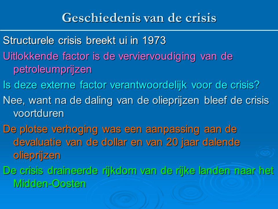 Structurele crisis breekt ui in 1973 Uitlokkende factor is de verviervoudiging van de petroleumprijzen Is deze externe factor verantwoordelijk voor de