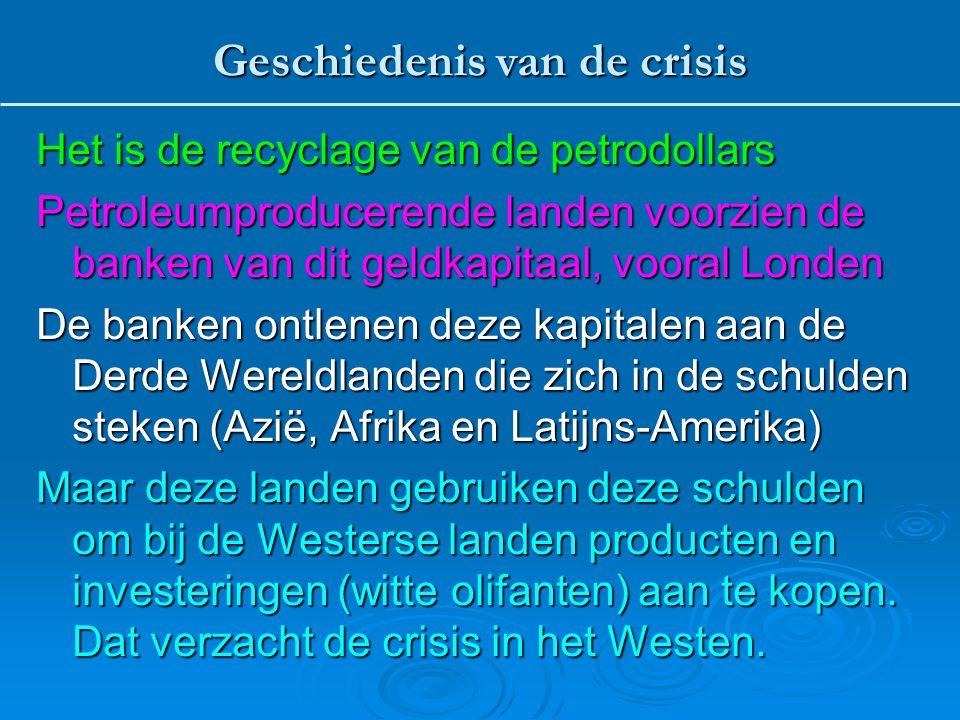 Het is de recyclage van de petrodollars Petroleumproducerende landen voorzien de banken van dit geldkapitaal, vooral Londen De banken ontlenen deze ka