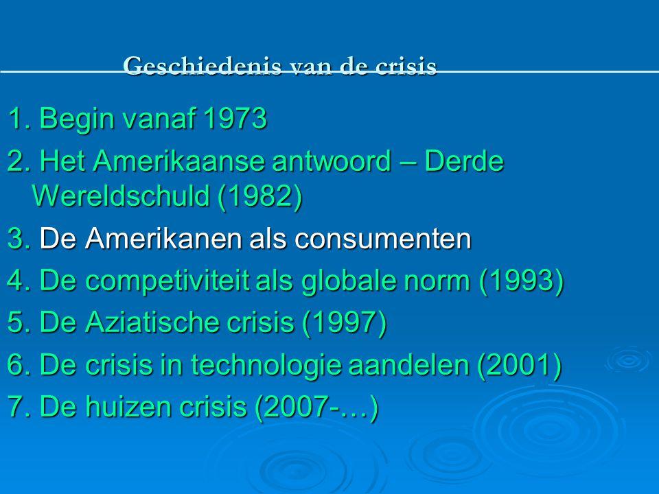 1. Begin vanaf 1973 2. Het Amerikaanse antwoord – Derde Wereldschuld (1982) 3. De Amerikanen als consumenten 4. De competiviteit als globale norm (199