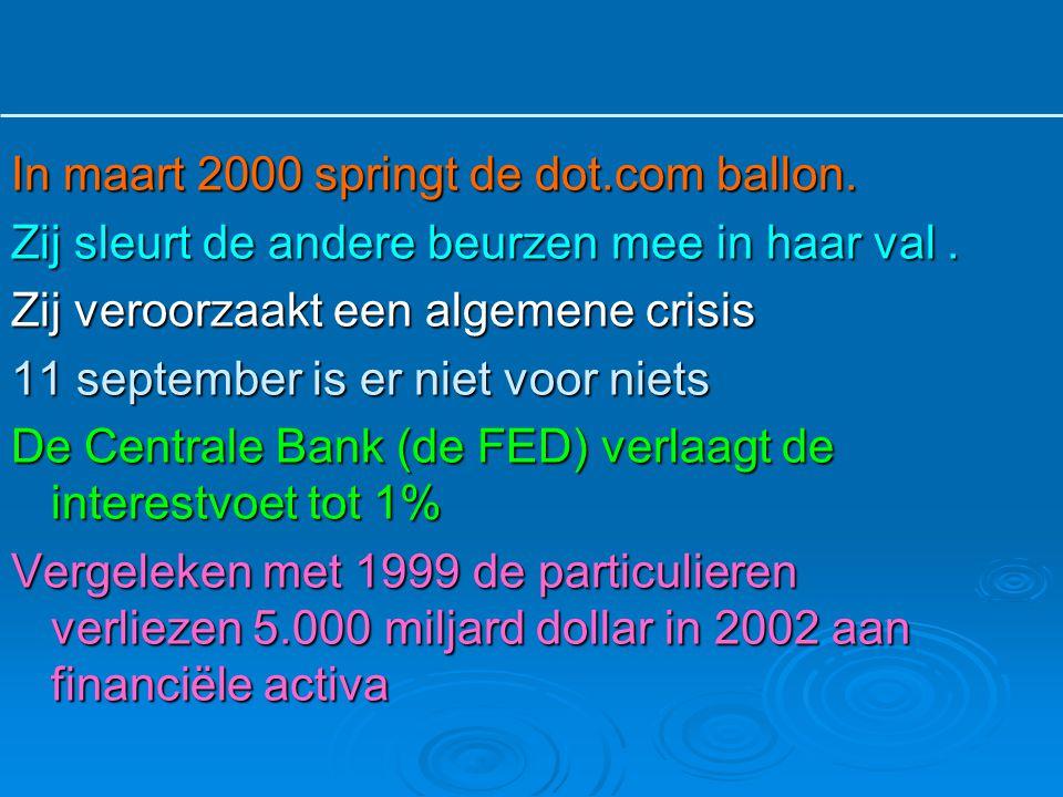 In maart 2000 springt de dot.com ballon. Zij sleurt de andere beurzen mee in haar val. Zij veroorzaakt een algemene crisis 11 september is er niet voo