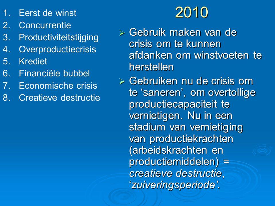 2010  Gebruik maken van de crisis om te kunnen afdanken om winstvoeten te herstellen  Gebruiken nu de crisis om te 'saneren', om overtollige product