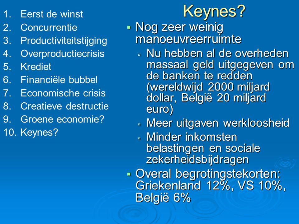 Keynes?  Nog zeer weinig manoeuvreerruimte  Nu hebben al de overheden massaal geld uitgegeven om de banken te redden (wereldwijd 2000 miljard dollar