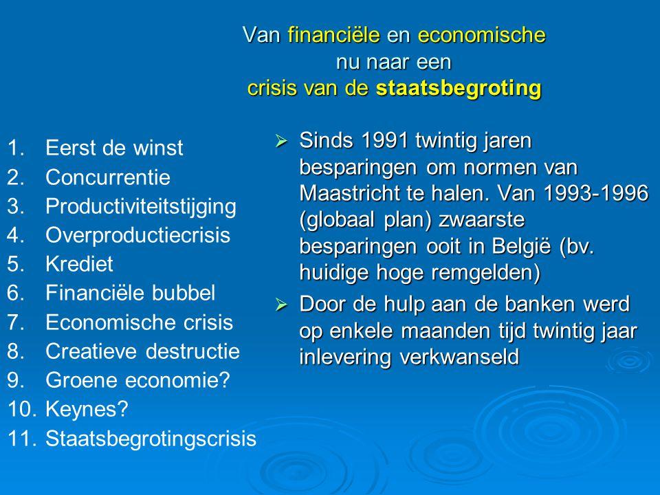 Van financiële en economische nu naar een crisis van de staatsbegroting  Sinds 1991 twintig jaren besparingen om normen van Maastricht te halen. Van