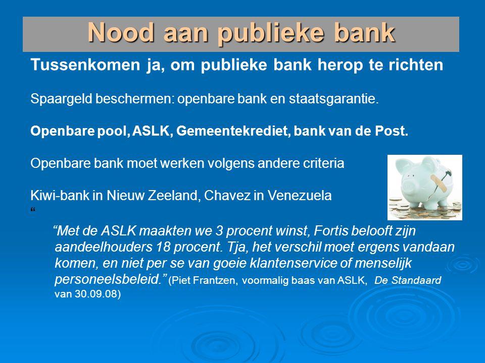 Tussenkomen ja, om publieke bank herop te richten Spaargeld beschermen: openbare bank en staatsgarantie. Openbare pool, ASLK, Gemeentekrediet, bank va
