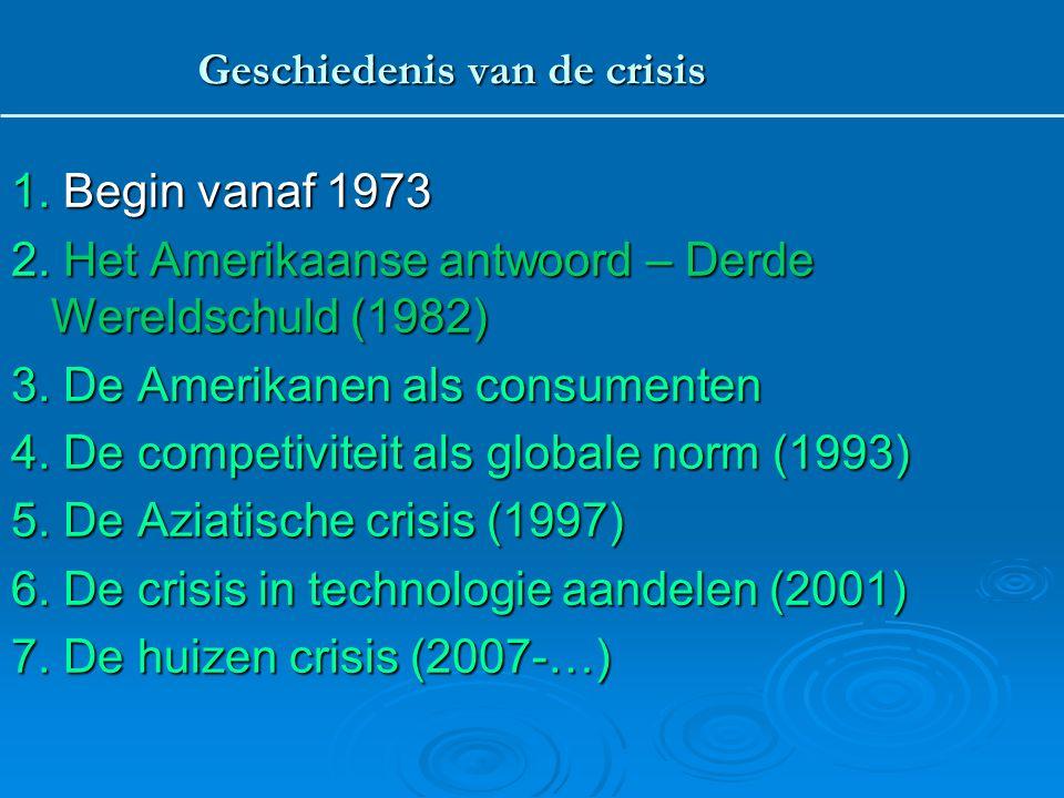 1.Begin vanaf 1973 2. Het Amerikaanse antwoord – Derde Wereldschuld (1982) 3.
