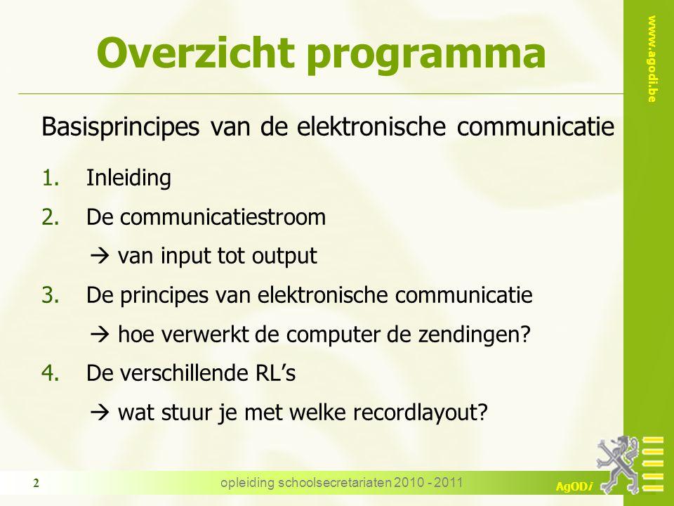 www.agodi.be AgODi opleiding schoolsecretariaten 2010 - 2011 2 Overzicht programma Basisprincipes van de elektronische communicatie 1.Inleiding 2.De c
