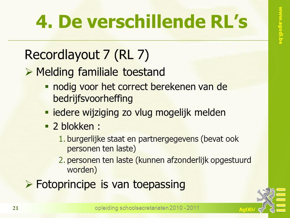 www.agodi.be AgODi opleiding schoolsecretariaten 2010 - 2011 21 4. De verschillende RL's Recordlayout 7 (RL 7)  Melding familiale toestand  nodig vo