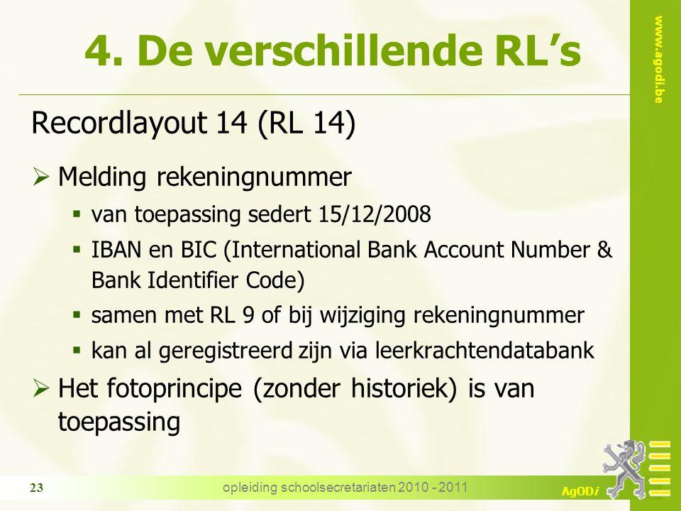 www.agodi.be AgODi opleiding schoolsecretariaten 2010 - 2011 23 4. De verschillende RL's Recordlayout 14 (RL 14)  Melding rekeningnummer  van toepas