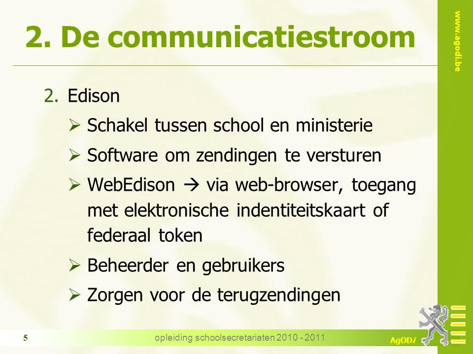 www.agodi.be AgODi opleiding schoolsecretariaten 2010 - 2011 16 4.