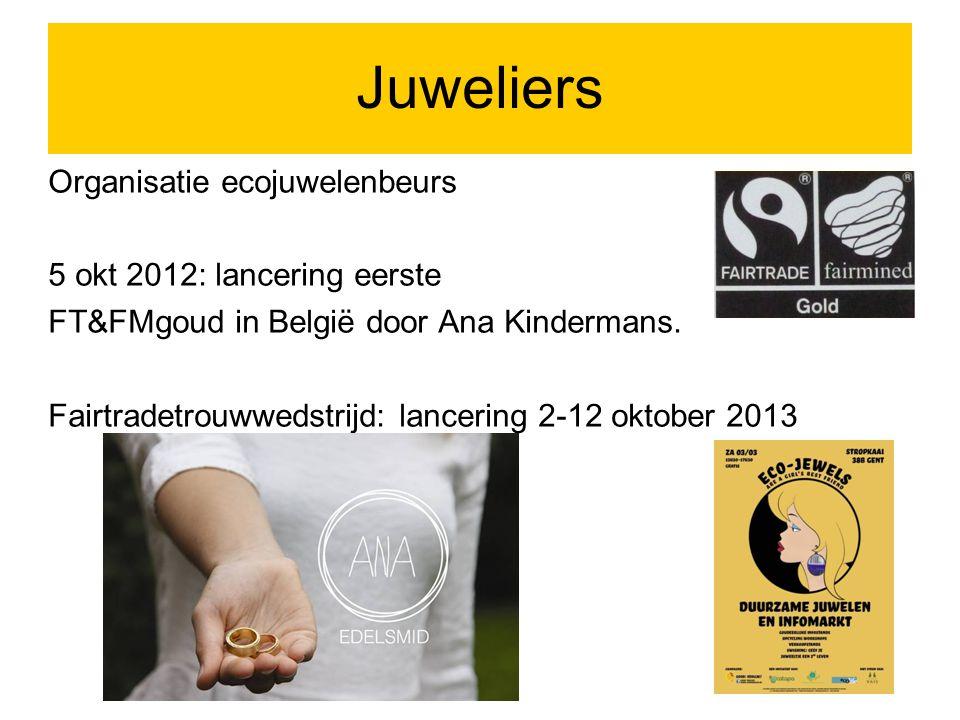 Juweliers Organisatie ecojuwelenbeurs 5 okt 2012: lancering eerste FT&FMgoud in België door Ana Kindermans.