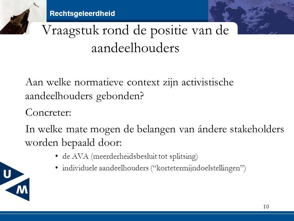 Rechtsgeleerdheid 10 Vraagstuk rond de positie van de aandeelhouders Aan welke normatieve context zijn activistische aandeelhouders gebonden? Concrete