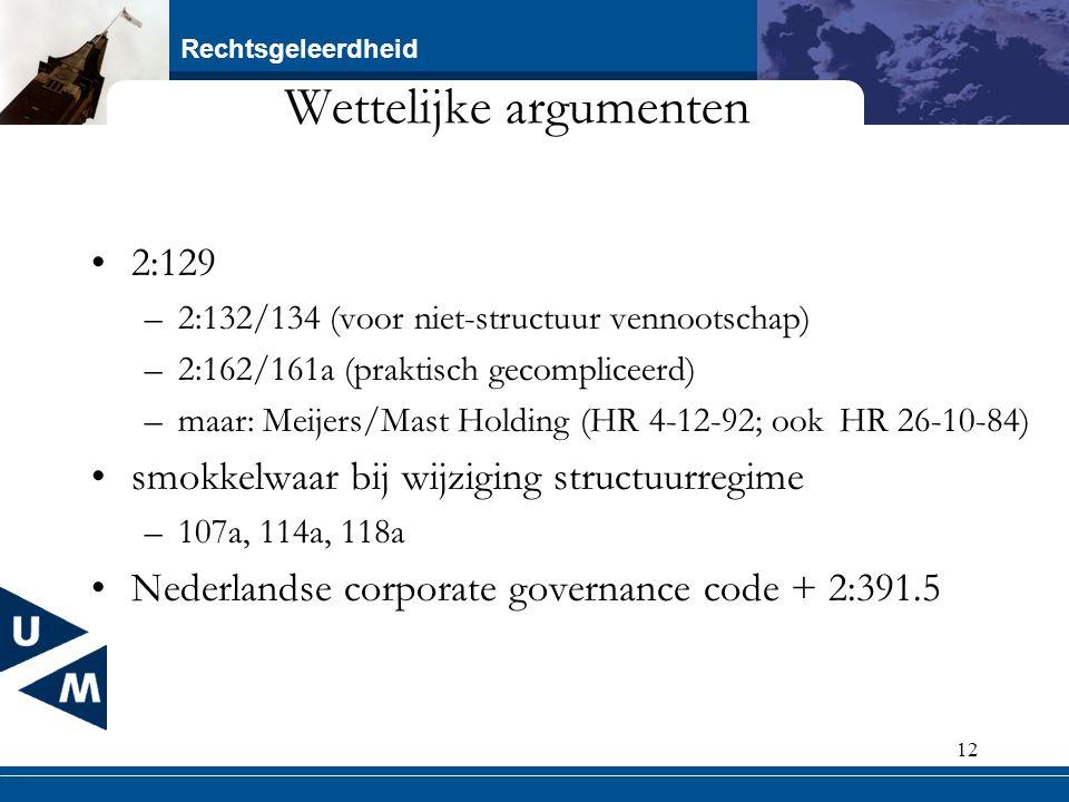 Rechtsgeleerdheid 12 Wettelijke argumenten 2:129 –2:132/134 (voor niet-structuur vennootschap) –2:162/161a (praktisch gecompliceerd) –maar: Meijers/Ma