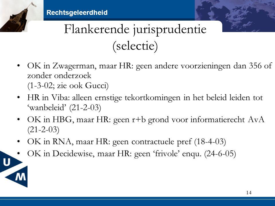 Rechtsgeleerdheid 14 Flankerende jurisprudentie (selectie) OK in Zwagerman, maar HR: geen andere voorzieningen dan 356 of zonder onderzoek (1-3-02; zi