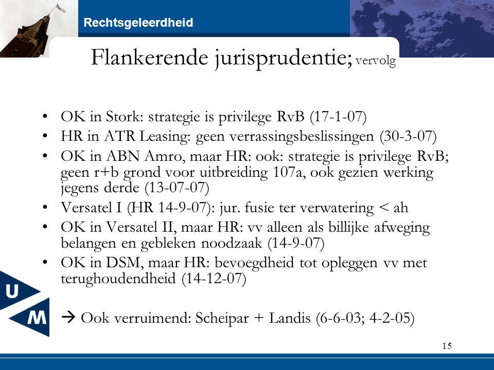Rechtsgeleerdheid 15 Flankerende jurisprudentie; vervolg OK in Stork: strategie is privilege RvB (17-1-07) HR in ATR Leasing: geen verrassingsbeslissi