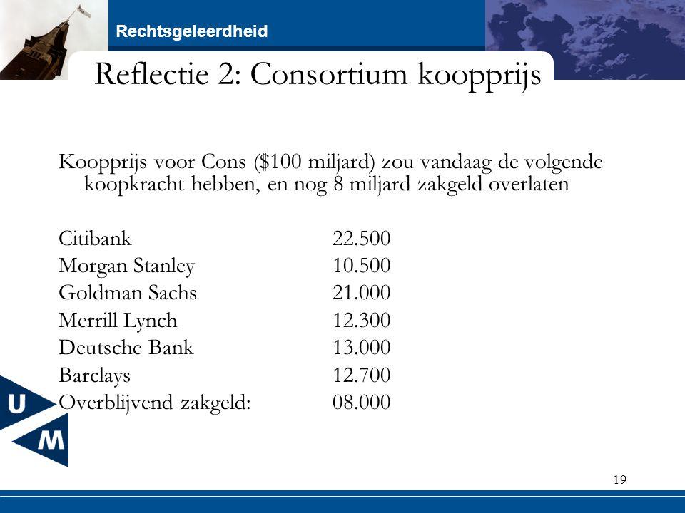 Rechtsgeleerdheid 19 Reflectie 2: Consortium koopprijs Koopprijs voor Cons ($100 miljard) zou vandaag de volgende koopkracht hebben, en nog 8 miljard