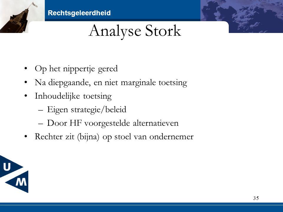 Rechtsgeleerdheid 35 Analyse Stork Op het nippertje gered Na diepgaande, en niet marginale toetsing Inhoudelijke toetsing –Eigen strategie/beleid –Doo