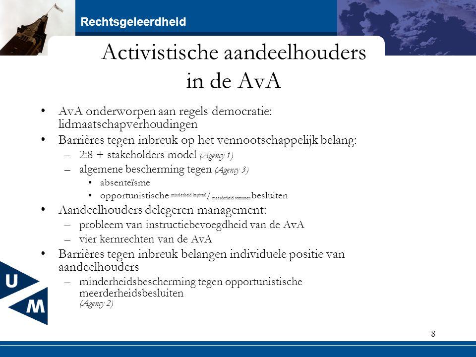 Rechtsgeleerdheid 8 Activistische aandeelhouders in de AvA AvA onderworpen aan regels democratie: lidmaatschapverhoudingen Barrières tegen inbreuk op