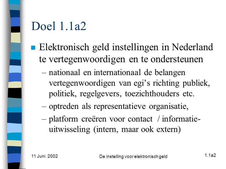 1.1a2 11 Juni 2002 De instelling voor elektronisch geld Activiteiten tot nu toe n Informele aankondiging oprichting n Formeel verzoek tot aanwijziging als representatieve organisatie bij Min.