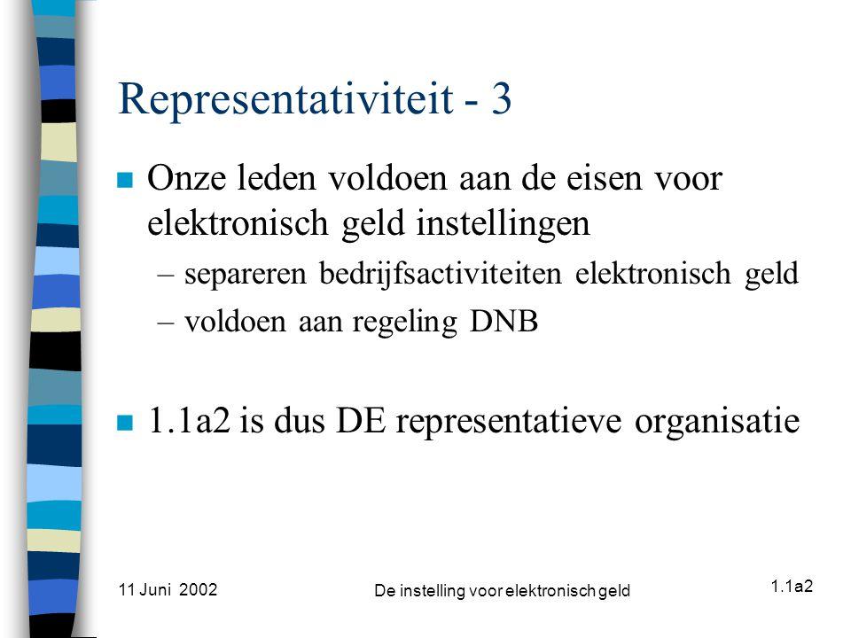 1.1a2 11 Juni 2002 De instelling voor elektronisch geld Representativiteit - 3 n Onze leden voldoen aan de eisen voor elektronisch geld instellingen –separeren bedrijfsactiviteiten elektronisch geld –voldoen aan regeling DNB n 1.1a2 is dus DE representatieve organisatie