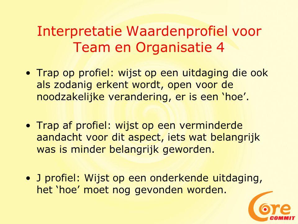 Interpretatie Waardenprofiel voor Team en Organisatie 4 Trap op profiel: wijst op een uitdaging die ook als zodanig erkent wordt, open voor de noodzakelijke verandering, er is een 'hoe'.