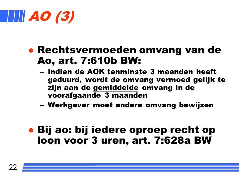21 Ao (2) l Rechtsvermoeden van het zijn/hebben van een ao, art.