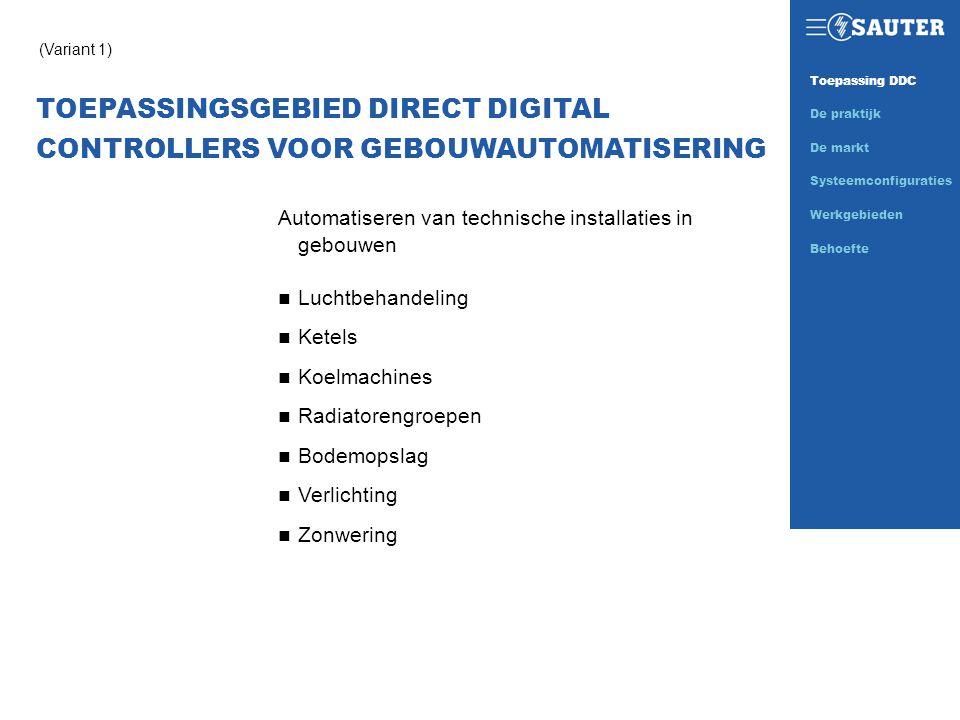 TOEPASSINGSGEBIED DIRECT DIGITAL CONTROLLERS VOOR GEBOUWAUTOMATISERING (Variant 1) Automatiseren van technische installaties in gebouwen n Luchtbehand