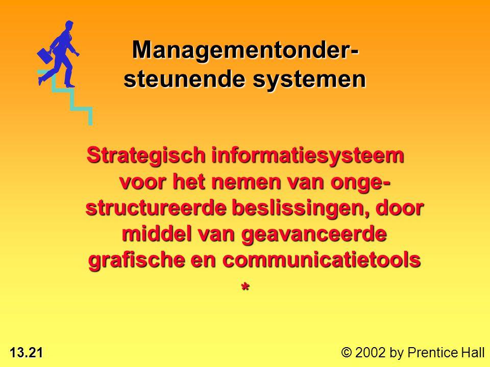 13.21 © 2002 by Prentice Hall Strategisch informatiesysteem voor het nemen van onge- structureerde beslissingen, door middel van geavanceerde grafische en communicatietools * Managementonder- steunende systemen