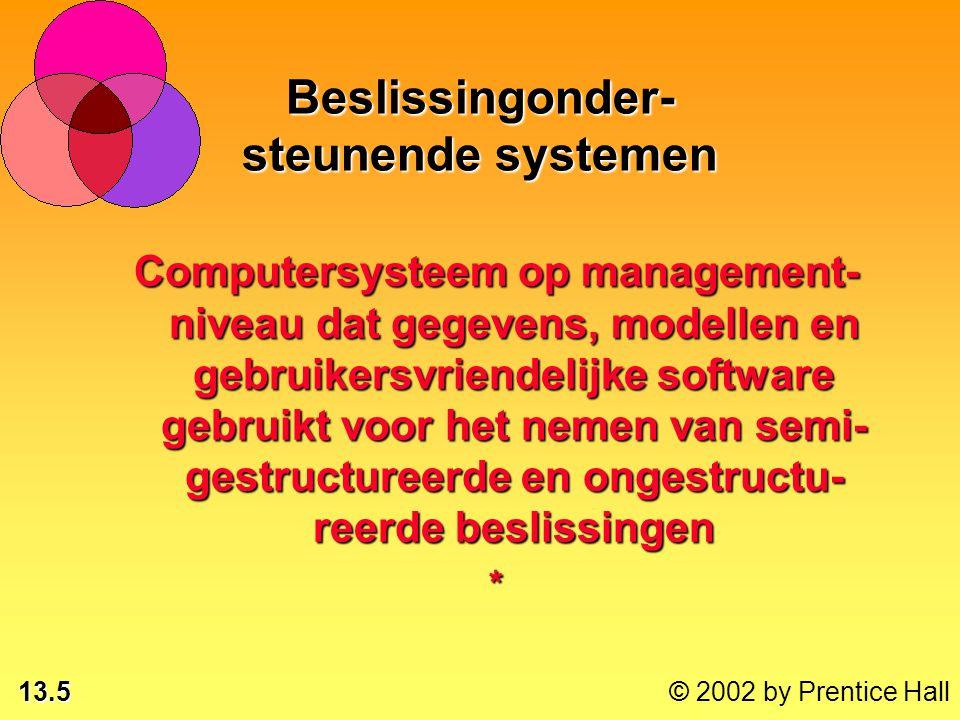 13.5 © 2002 by Prentice Hall Beslissingonder- steunende systemen Computersysteem op management- niveau dat gegevens, modellen en gebruikersvriendelijke software gebruikt voor het nemen van semi- gestructureerde en ongestructu- reerde beslissingen *