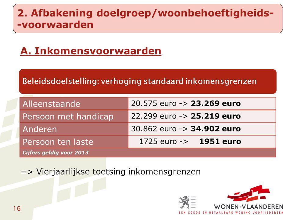 16 A. Inkomensvoorwaarden => Vierjaarlijkse toetsing inkomensgrenzen 2. Afbakening doelgroep/woonbehoeftigheids- -voorwaarden Beleidsdoelstelling: ver