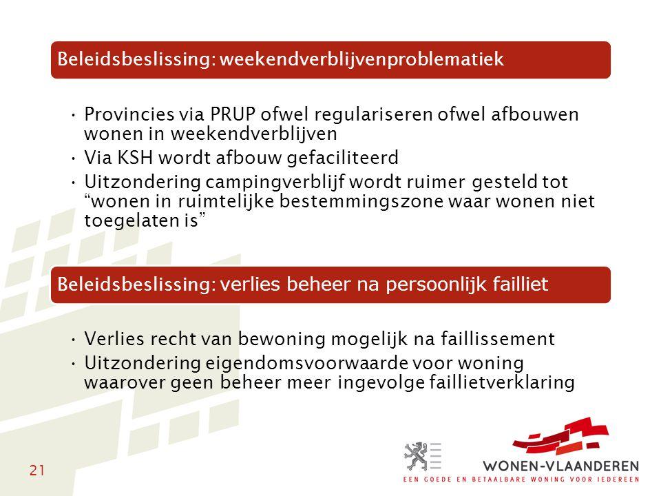 21 Beleidsbeslissing: weekendverblijvenproblematiek Provincies via PRUP ofwel regulariseren ofwel afbouwen wonen in weekendverblijven Via KSH wordt af