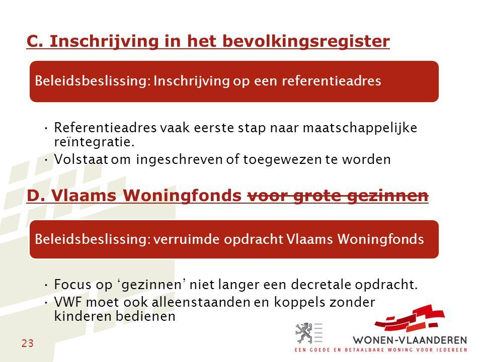 23 C. Inschrijving in het bevolkingsregister D. Vlaams Woningfonds voor grote gezinnen Beleidsbeslissing: Inschrijving op een referentieadres Referent