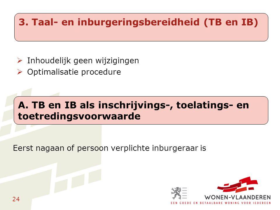 24 Eerst nagaan of persoon verplichte inburgeraar is 3. Taal- en inburgeringsbereidheid (TB en IB) A. TB en IB als inschrijvings-, toelatings- en toet
