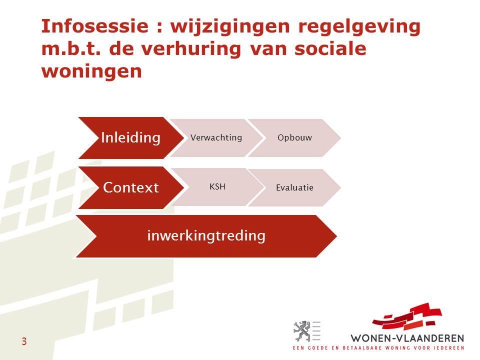 3 Infosessie : wijzigingen regelgeving m.b.t. de verhuring van sociale woningen Inleiding VerwachtingOpbouw Context KSH Evaluatie inwerkingtreding