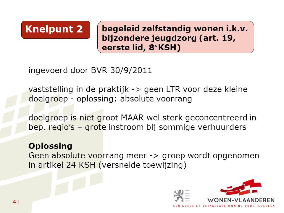 41 Knelpunt 2 begeleid zelfstandig wonen i.k.v. bijzondere jeugdzorg (art. 19, eerste lid, 8°KSH) ingevoerd door BVR 30/9/2011 vaststelling in de prak