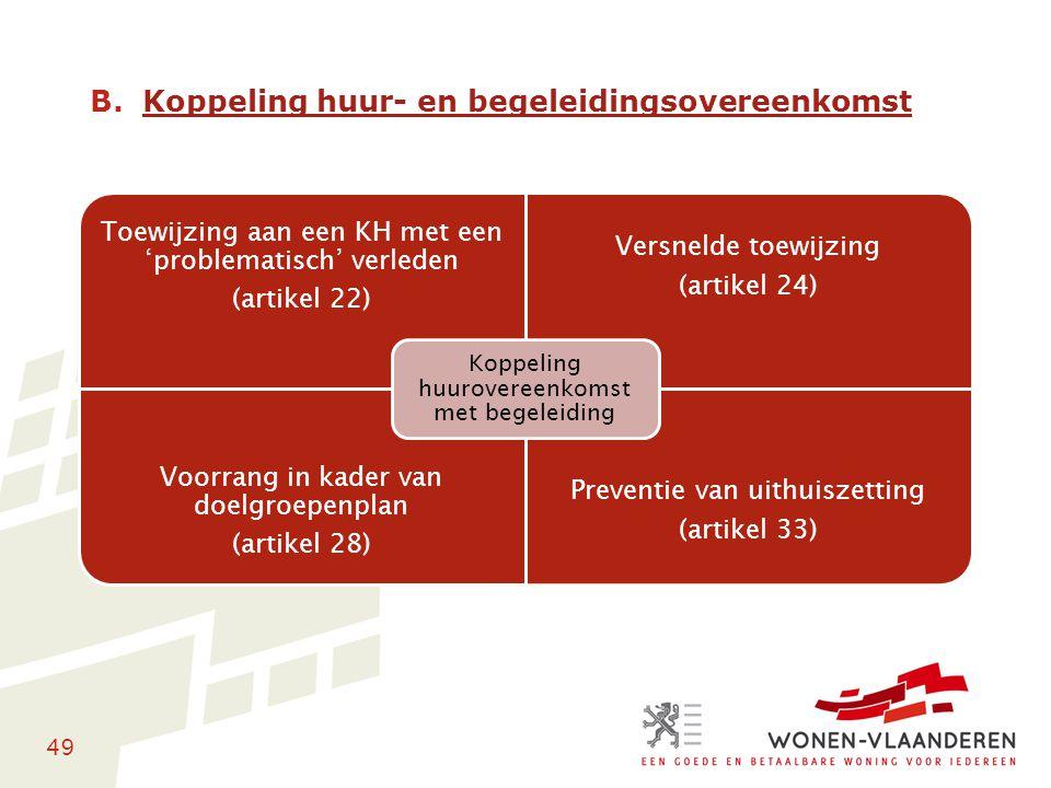 49 B.Koppeling huur- en begeleidingsovereenkomst Toewijzing aan een KH met een 'problematisch' verleden (artikel 22) Versnelde toewijzing (artikel 24)